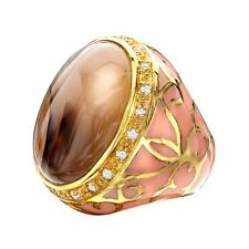 Agate Noble Ring in Peach with White Topaz in 14K Gold-Plated Sterling Silver