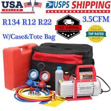 35cfm Air Vacuum Pump Hvac Refrigeration Ac Manifold Gauge Set R134 R12 R22 Kit