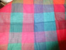 """New listing Plaid open weave cotton material fabric Red/Gr/Bl/Purp 35"""" W x 44"""" L<1 x 1.2Yds"""