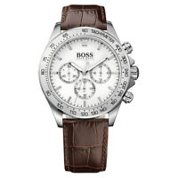 100% New Hugo Boss 1513175 Stainless Steel Brown Leather Strap Men's Watch 42mm