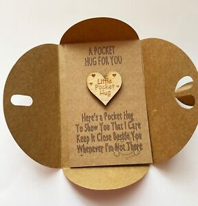 A Cute Pocket Hug Token Gift Card for Family & Friends Thinking of you, Heart