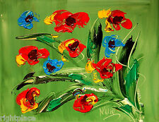 RED FLOWERS ON GREEN  - ORIGINAL OIL Painting  Stretched IMPRESSIONIST N34ASCCW5