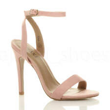 a66919d4ee9 WOMENS LADIES HIGH HEEL ANKLE STRAP BARELY THERE STRAPPY SANDALS SHOES SIZE