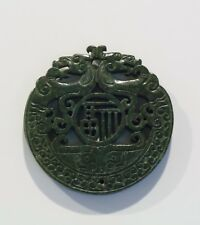 CHINESE CARVED GREEN JADE DRAGON PLAQUE / TALISMAN  (CJP03)