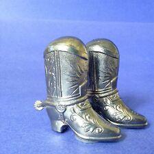 Figural Metal Silvertone Western Cowboy Boot w/ Spurs Salt Pepper Shakers Japan