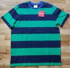 NWT HANNA ANDERSSON SOFT JERSEY BLUE GREEN STRIPED COTTON TEE SHIRT 160 14 NEW!