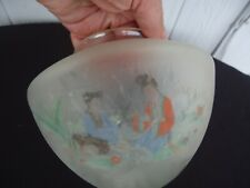vintage  frosted glass lamp shade  japanese ladies scene