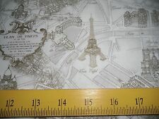 Timeless Treasures Fabric Street Maps of Paris Cream & Tan Eiffel Tower Moulin