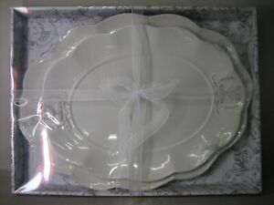 Pair white porcelain platters, high quality, NEW