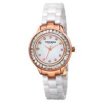New Women's Akribos XXIV AK781WTR Quartz Crystal Bezel White Ceramic Watch