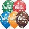 "6 x Happy Birthday ballons en latex 11 "" - Assortiment de couleurs {Qualatex}"