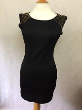 MISSGUIDED LADIES DRESS SIZE 8 BLACK STUDDED SPIKED SHOULDER SUMMER PARTY