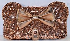 Disney Rose Gold Minnie Bow Apple Iphone 6S/7/8 Plus Cellphone Case Wallet NEW