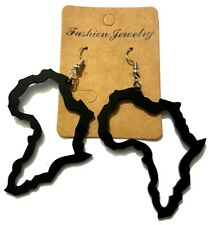 Acrylic Black Africa Outline Drop Earrings 7cm x 8cm Dangle Culture Jewellery