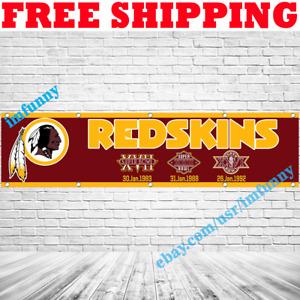 Washington Redskins NFL Super Bowl Champion Memorable Flag Banner 2x8 ft 2020