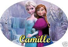 PLAQUE DE PORTE OVALE RIGIDE  réf 38 la reine des neiges personnalisée prénom