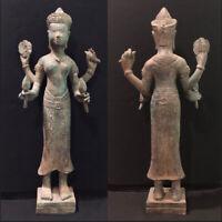 Cambodia Ancient Khmer God Bronze Buddha Statue Collectible Buddhism Sculpture