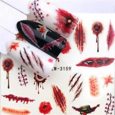 Nail Art Stickers Water Decals Transfers Halloween Eyeball Scar Blood (YZW-3159)