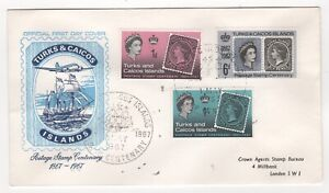 1967 TURKS & CAICOS ISLANDS QEII First Day Cover CENTENARY OF STAMPS SG288/90