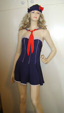 LADIES SAILOR GIRL SEXY NAVY FANCY DRESS COSTUME S/M 10-12 USED