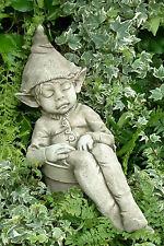 Gartendeko Figur Skulptur Wichtel Pheeberts by Fiona Scott Steinguss Joe asleep