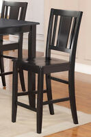 Set of 4 Buckland kitchen counter height bar stool chairs w/ wood seat in black
