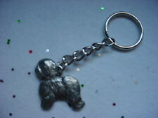 Old English Sheepdog Pewter Silver Dog Keychain Christmas Ornament Key Ring New