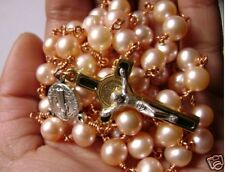 Gold PINK Real Pearl Wire Wrap BEADS CATHOLIC ROSARY NECKLACE CROSS Crucifix BOX