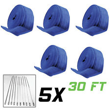 Wholesale Lot 5 x 30Ft Blue Thermal Exhaust Header Pipe Heat Wrap Tape+Ties Kit