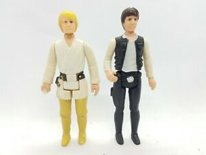 Vintage Star Wars Figures Luke Skywalker Farmboy + Han Solo Large Head