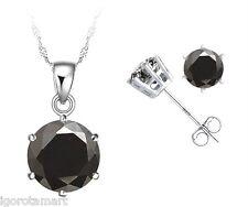 New Women Sterling Silver Black Zirconia Fashion Earring Necklace Jewelry Set