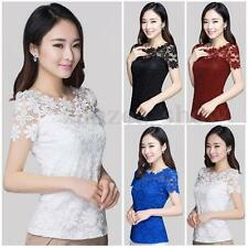 Women Elegant Lace Crochet Floral Sheer Short Sleeve OL Slim Tops T Shirt Blouse