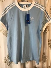 Adidas Originals Women's 3 Stripes Tee T-Shirt Shirt Light Blue Small