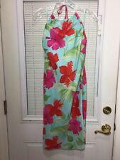 Gap Women's Hawaiian Tropical Hibiscus Flower Silk Halter Dress Knee Length Sz 2