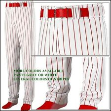 Augusta Youth Boy's Open Bottom Pinstripe Baseball Pants, White or Gray 883