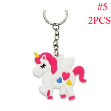 2/5Pcs Unicorn HorseSoft Rubber PVC Keychain Handbag  Pendant Key Ring