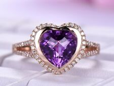 Delicate 2.20Ct Heart Cut Amethyst Halo Engagement Ring 14k Rose Gold Finish.