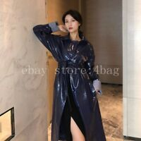 Chic motorcycle jacket Sexy Womens Ladies Loose Patent Leather Trench Coat Parka