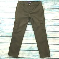 NYDJ Womens Pants size 16P 16 Petite Army Green Cotton Stretch Cargo Straight