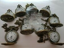 JOB LOT 9 QUARTZ  POCKET WATCHES 45MM NEW