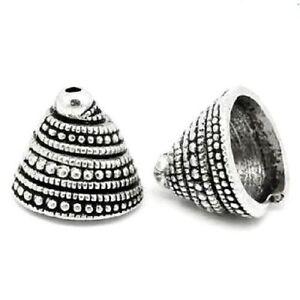 10 Antiqued Tibetan Silver Jumbo 14mm Spiral Beaded Swirl Bead Caps Cone Beads