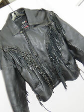 Biker's Leather Stuff Mens Black Leather Motorcycle Jacket Lined Fringe Conch 54