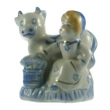 Porcelain Milkmaid Girl Figurine Cow Blue White Glazed Ceramic Collectible