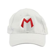 Mario M Logo White Baseball Cap Hat Super Mario Brothers Costume Nintendo Kart