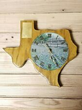 State of Texas Wood Clock Blue Bonnets Vintage