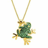 Crystaluxe Frog Pendant with Swarovski Crystals, 18K Gold-Plated Sterling Silver