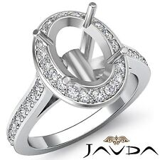 Oval Diamond Engagement Halo Pave Bezel Set 0.7Ct Ring 18k White Gold Semi Mount