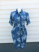 KUT from The Kloth Women's Amerie Belted Chambray Floral Blue Dress Size Small