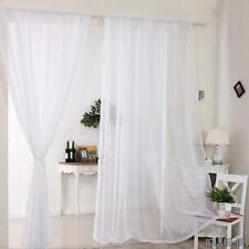 Plain Voile Net Curtains Panels Slot Rod Tassel Window Pelmets Room Fly Screen