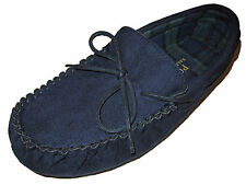 Polo Ralph Lauren Navy Blue Blackwatch Tartan Plaid Moccasins Slippers Shoes 10